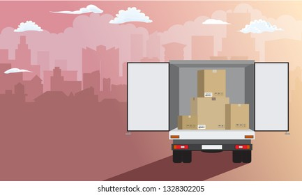Delivery service. Delivery truck over cityscape with stack of carton boxes rear view. Flat style, vector illustration.