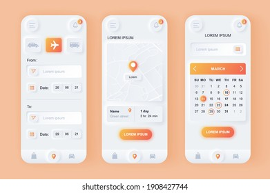 Delivery service unique neomorphic design kit. Express delivery solution with shipping time, calendar planner, route on map. UI UX templates set. Vector illustration of GUI for responsive mobile app.