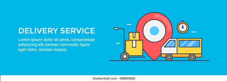 Delivery service, delivery van, boxes, and supplies, delivery on time flat vector banner isolated on blue background