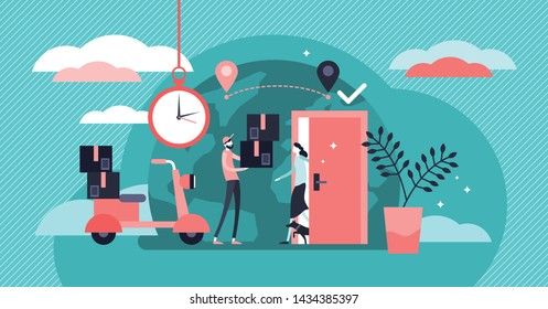 Delivery service vector illustration. Flat tiny shipping box persons concept. Global international logistics distribution. Parcel and ordered goods transport export to customer location fast in time.