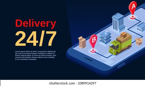 Delivery service vector illustration for logistics transport mobile application technology. Isometric poster design of smartphone and delivery truck in city with location and navigation map pins