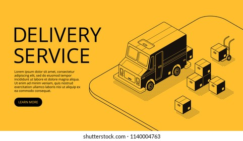 Delivery service vector illustration of thin line art in black isometric halftone style. Logistics transport technology of loader truck car and parcel boxes on yellow background