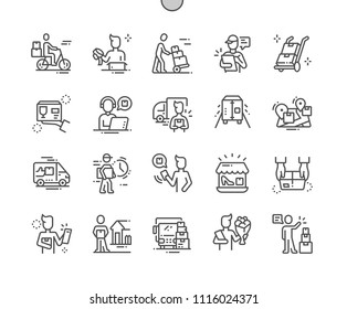 Delivery service Well-crafted Pixel Perfect Vector Thin Line Icons 30 2x Grid for Web Graphics and Apps. Simple Minimal Pictogram