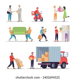 Delivery service workers flat illustrations set. Couriers, loaders, errand boys isolated cartoon characters. Moving house, relocation specialists. Flower shop, grocery store, pizza express delivery