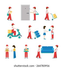 Delivery service workers in process with clients icon set flat modern web isometric infographic concept vector. Deliveryman with box pizza water scooter flower furniture gift customer. Creative people