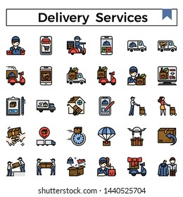Delivery services and errands filled outline icon set