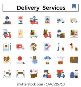 Delivery services and errands flat design icon set