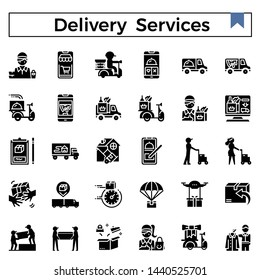 Delivery services and errands glyph design icon set