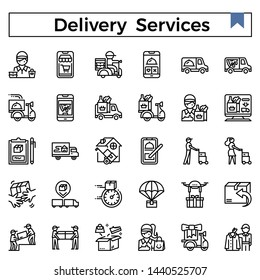 Delivery services and errands outline icon set