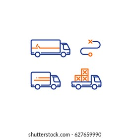 Delivery services, long and short truck, pick up truck with boxes, itinerary route, distance transportation, shipping and relocation, logistics company, rental truck, line vector icons, stroke