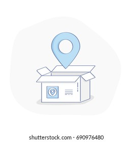 Delivery services, relocation, cargo shipment or distribution, logistics and transportation illustration concept. Opened box with map pointer icon. Flat line vector for web and mobile design.