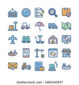 delivery services, shipment and logistics flat icons pack.
