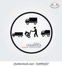 delivery services symbol on gray background.man icon with trolley and truck.vector illustration.