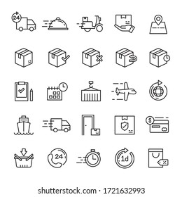 Delivery and shipping 25 line icons vector