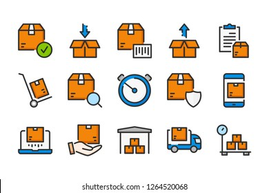 Delivery and Shipping color line icons. Package vector linear colorful icon set. Isolated icon collection on white background.