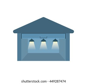 Delivery and Shipping concept represented by garage icon. isolated and flat illustration