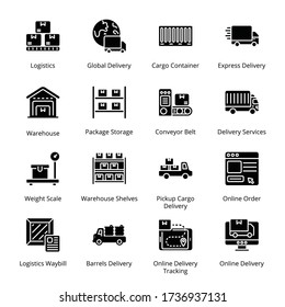 Delivery, Shipping and Logistics glyph Icons - Vectors