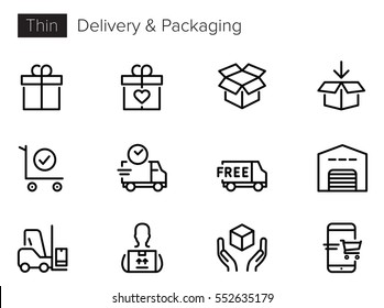 Delivery, Shipping, Shopping Line Vector icons set