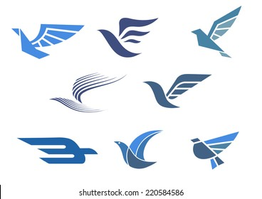 Delivery and shipping symbols with abstract stylized flying bird isolated on white, for fast delivering concept design