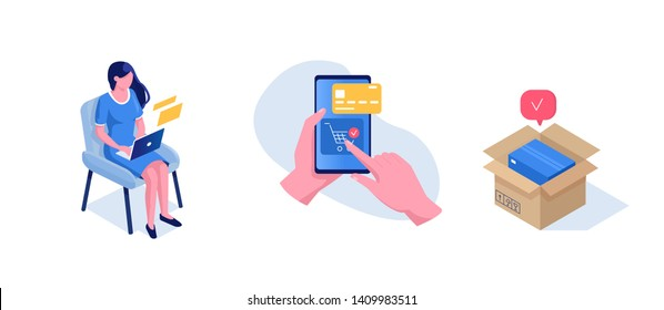 Delivery and shopping concept. Can use for web banner, infographics, hero images. Flat isometric modern vector illustration.