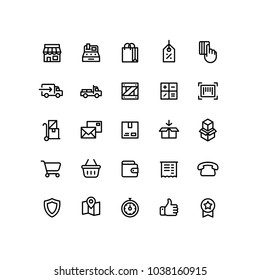 Delivery Shopping Shipping Outline Icons