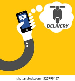 Delivery at social application phone in hand of businessman on yellow background vector.