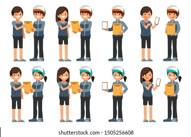 Delivery staff deliver document to customers at home. (Character Ratio 1:4)