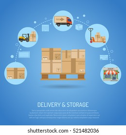 Delivery and storage concept infographics with flat Icons pallet with boxes and delivery process in store. Vector illustration