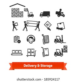 Delivery and storage icons set. EPS10 vector.