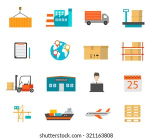 Delivery and storage icons with warehouse building, transport and other objects, vector illustration. Logistics and shipping symbols set