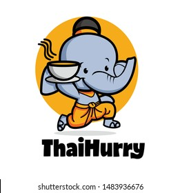 delivery thai food with cute elephant character logo