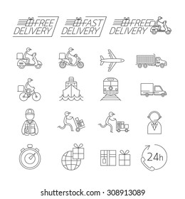 Delivery Thin Line Icons Set, Shipping, Transport, Order, Service, Fast and Free