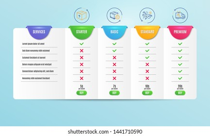 Delivery timer, Package and Airplane travel icons simple set. Comparison table. Car service sign. Express logistics, Delivery pack, Trip flight. Repair service. Transportation set. Vector