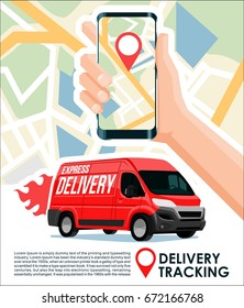 Delivery tracking cargo & package track app cool design banner with red van & gps map