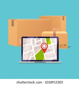 Delivery tracking on a computer. Pile of stacked sealed goods cardboard boxes. Flat design modern vector illustration concept.