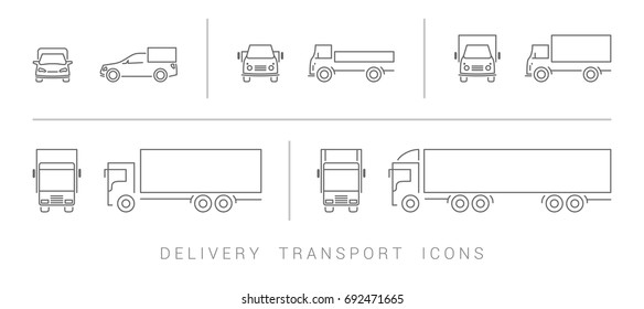 delivery transport icons set
