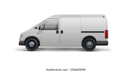 Delivery transport. Realistic van for shipping food and packages. 3D white wagon, automobile for orders transportation. Truck carries goods from warehouse to customers. Vector vehicle