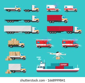Delivery transportation cargo vehicles set or freight transport automobiles and ship vessel shipping container side view vector flat cartoon illustration, trucks and vans industry warehouse car modern