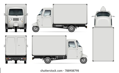 Delivery tricycle vector mock-up for advertising, corporate identity. Isolated template of box three wheeled scooter on white background. Vehicle branding mockup. View from side, front, back and top