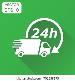 Delivery truck 24h icon. Business concept 24 hours fast delivery service shipping pictogram. Vector illustration on green background with long shadow.