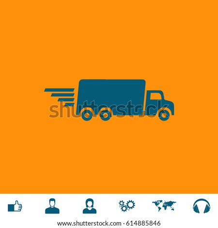 Delivery Truck Blue Symbol Icon On Stock Vector Royalty