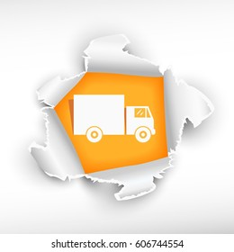 Delivery truck and breakthrough paper hole with ragged edges with a space for your message.