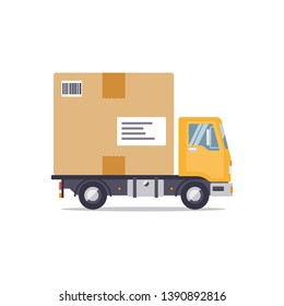 Delivery truck with giant parcel flat design isolated on white background vector illustration