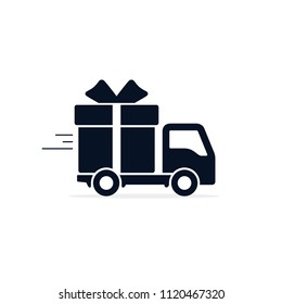 Delivery truck with gift box Icon. Vector flat style illustration isolated on white background.