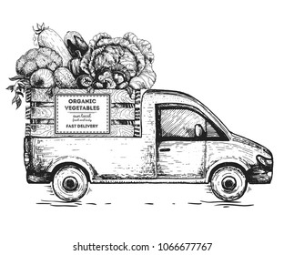 Delivery truck hand drawn vector illustration. Sketch concept for design. Vegetables in the box. Fast delivery of fresh vegetables.