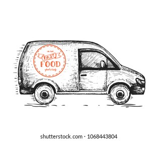 Delivery truck hand drawn, vector illustration. Sketch illustration for design. Fast delivery concept.