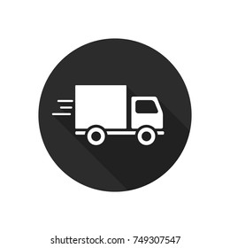 Delivery truck icon isolated on round background. Vector simple illustration.