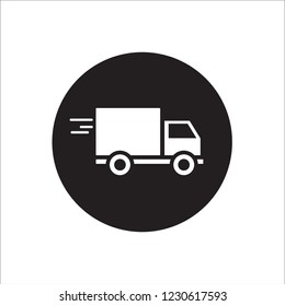 Delivery truck icon on round cicle