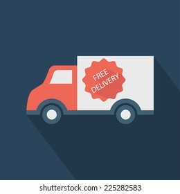 Delivery truck icon. Shop shipping. Flat style vector illustration delivery service concept