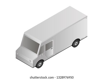 Delivery truck. Isometric vector illustration.